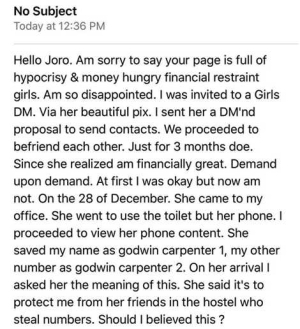 My Girl Saved My Name as Godwin Carpenter.1 - Man Makes Shocking Revelation